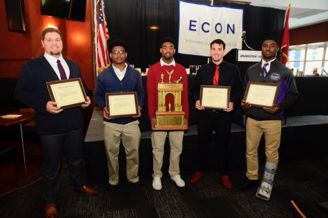 Caption - Finalists L to R - Jacob Daniel King, Overton; Jaylan Alaysius Granberry, Pearl-Cohn/MLK; Brian Darnell Thompson Jr., East Nashville; James Tyler Murphy, Glencliff; Jared Deon McCray, Cane Ridge - Photos by Mike Strasinger