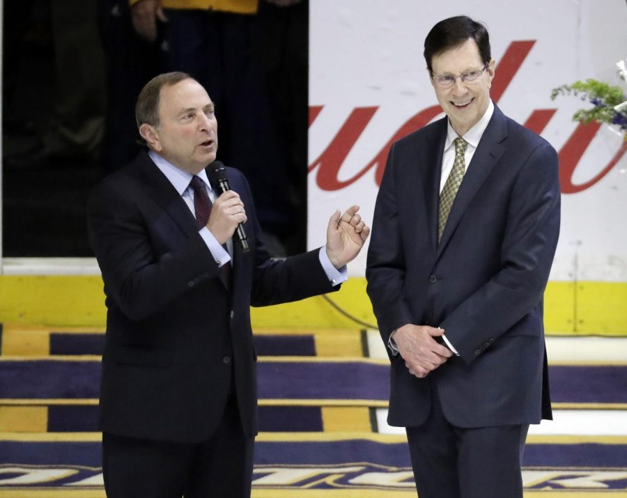 Predators, Bettman honor David Poile for most wins by NHL GM
