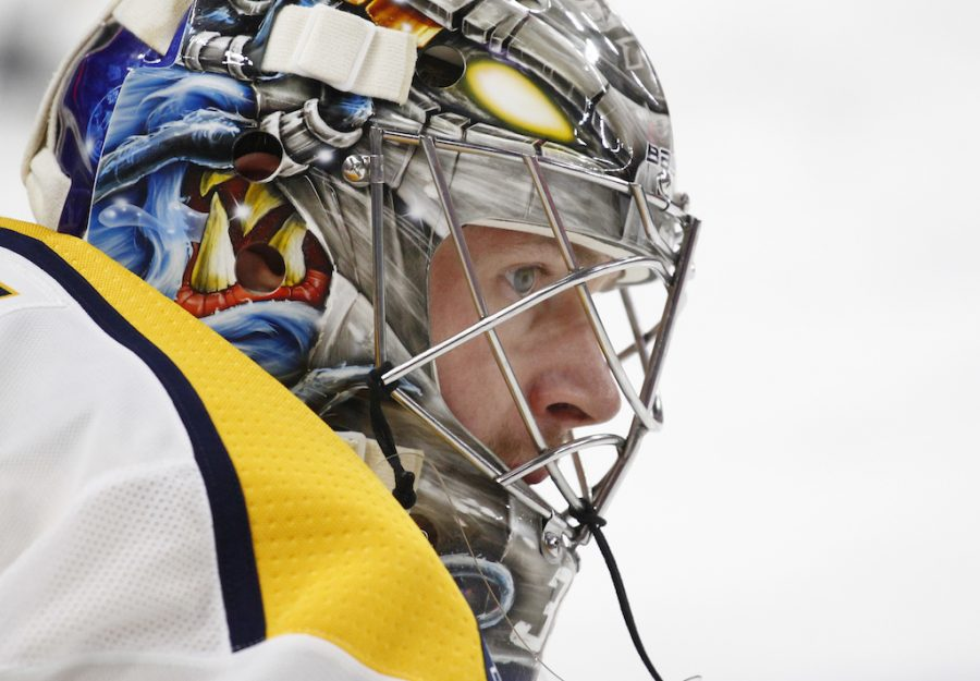 Nashville Predators goalie Pekka Rinne (35) looks on prior to the first period of an NHL hockey game against the Buffalo Sabres Monday, March 19, 2018, in Buffalo, N.Y. (AP Photo/Jeffrey T. Barnes)