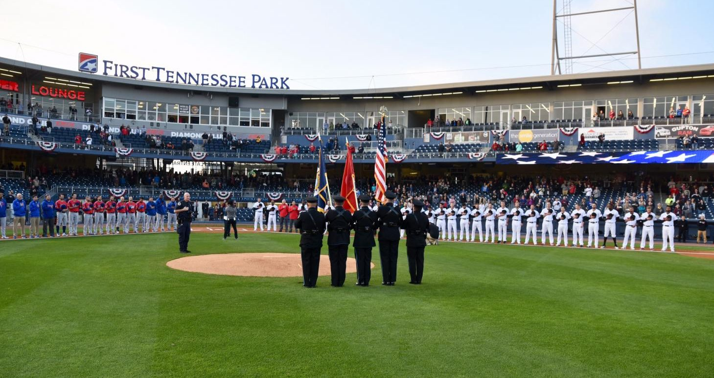 Opening Night Ceremonies Tuesday, April 10th at First Tennessee Park for the 2018 Nashville Sounds MiLB season. The Sounds are a AAA affiliate of the Oakland A's. (Photo by Nashville Sounds Photographer, Mike Strasinger)