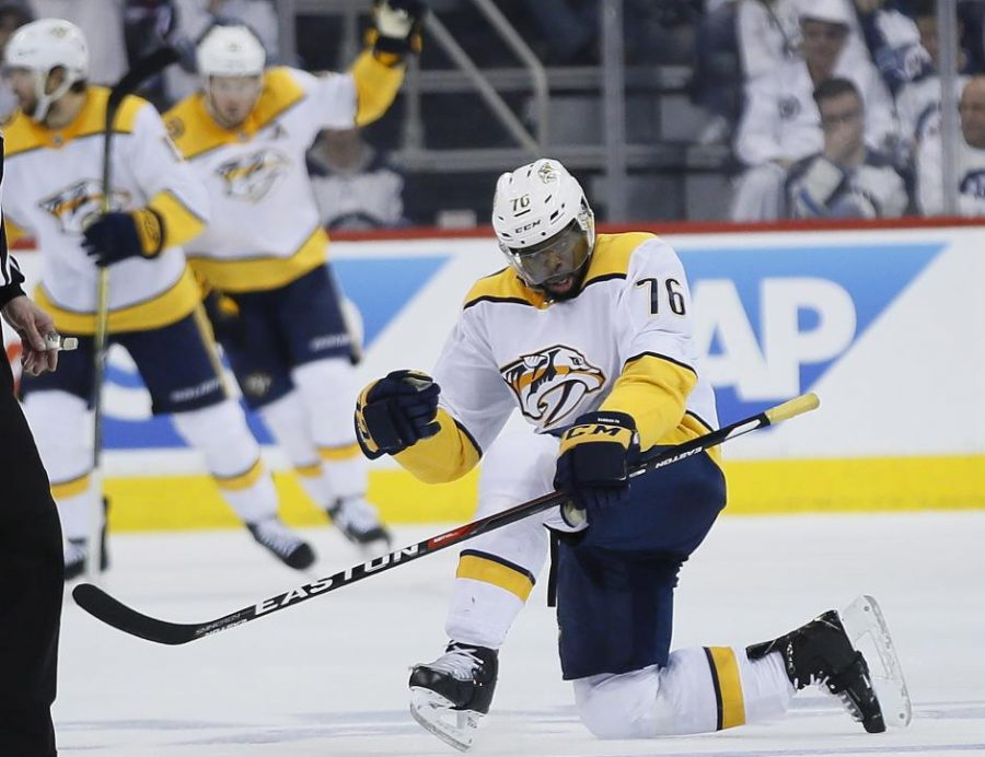 Nashville+Predators%27+P.K.+Subban+%2876%29+celebrates+his+goal+against+the+Winnipeg+Jets+during+the+second+period+of+Game+4+of+an+NHL+hockey+second-round+playoff+series+in+Winnipeg%2C+Manitoba%2C+Thursday%2C+May+3%2C+2018.+%28John+Woods%2FThe+Canadian+Press+via+AP%29