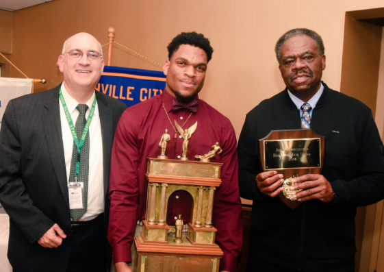 Left -Hillsboro IB World High School, Executive Principle, Dr. Shuler Pelham; Center - Joseph Honeysucker, 75th Hume Awardee; Right -  Head Football Coach of HHS, Maurice Fitzgerald.