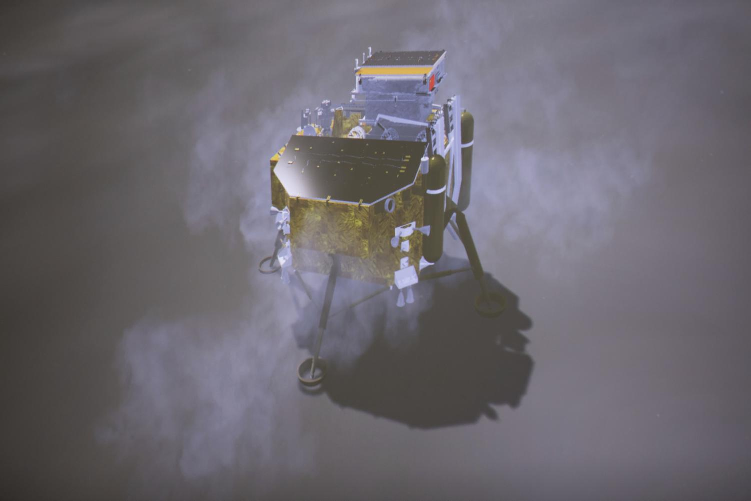In this image provided on Jan. 3, 2019, by China's Xinhua News Agency, a simulated landing process of Chang'e-4 lunar probe is seen through the monitor at Beijing Aerospace Control Center in Beijing. A Chinese spacecraft on Thursday, Jan. 3, 2019, made the first-ever landing on the far side of the moon, state media said. (Jin Liwang/Xinhua News via AP)