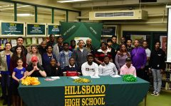 Hillsboro High School 2019 Signees (L-R) at Table Nate Ramieriz, Malachi Jackson, Chance Williams, Harold Jemison, Theron Orr and Darrius Smith with coaches, family and friends.