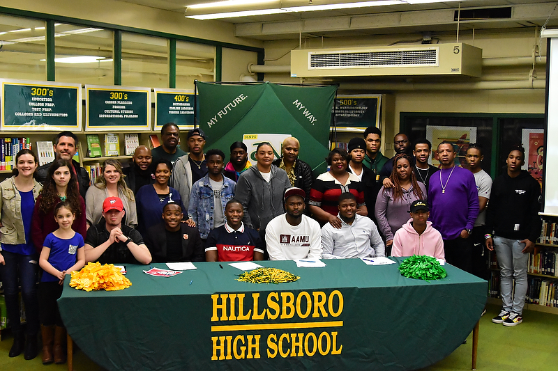Hillsboro+High+School+2019+Signees+%28L-R%29+at+Table+Nate+Ramieriz%2C+Malachi+Jackson%2C+Chance+Williams%2C+Harold+Jemison%2C+Theron+Orr+and+Darrius+Smith+with+coaches%2C+family+and+friends.