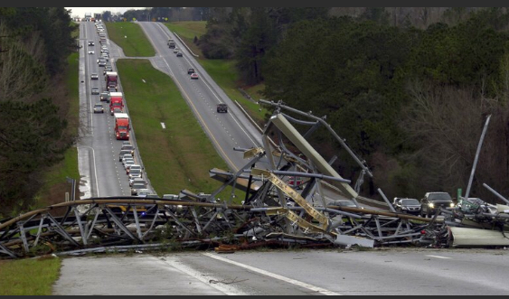 Deep South Severe Weather Image ID : 19063047954707 A fallen cell tower lies across U.S. Route 280 highway in Lee County, Ala., in the Smiths Station community after what appeared to be a tornado struck in the area Sunday, March 3, 2019. Severe storms destroyed mobile homes, snapped trees and left a trail of destruction amid weather warnings extending into Georgia, Florida and South Carolina, authorities said. (Mike Haskey/Ledger-Enquirer via AP)
