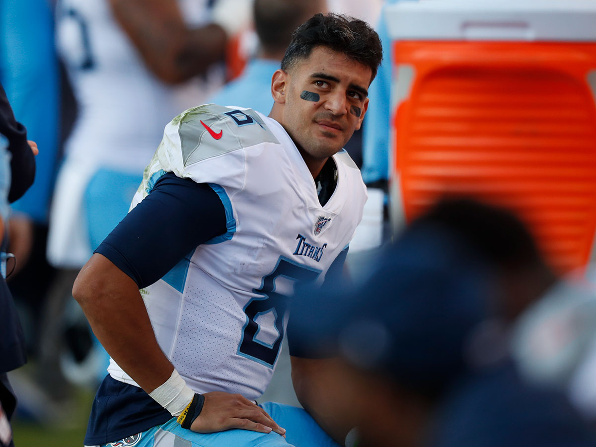 Tennessee+Titans+quarterback+Marcus+Mariota+looks+on+from+the+sideline+during+the+second+half+of+an+NFL+football+game+against+the+Denver+Broncos%2C+Sunday%2C+Oct.+13%2C+2019%2C+in+Denver.+%28AP+Photo%2FDavid+Zalubowski%29
