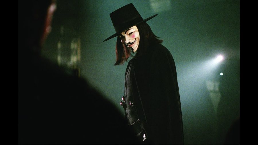 The main character V, played by Hugo Weaving.