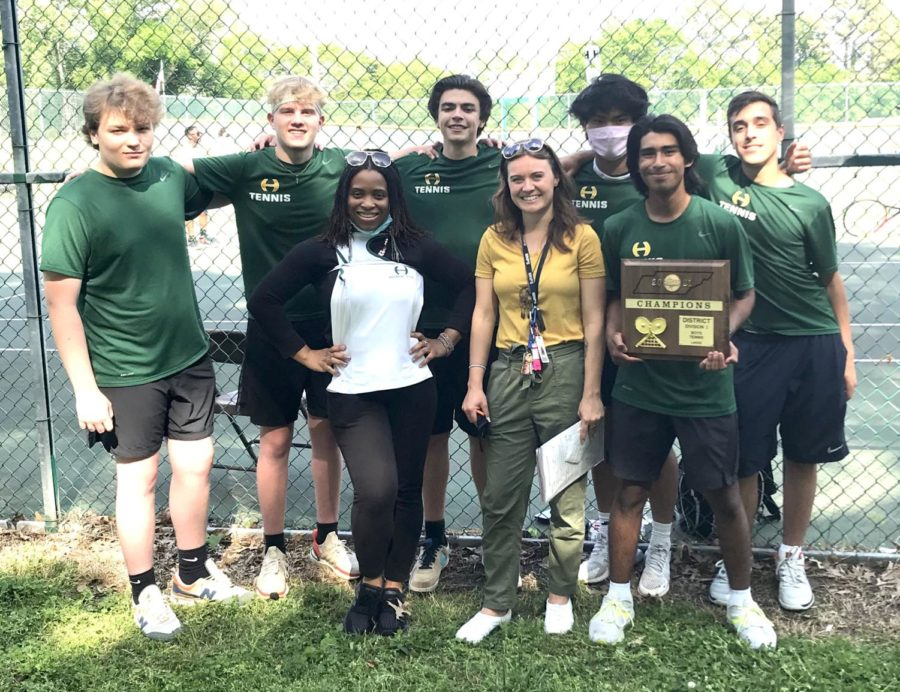 Pictured are the 2021 regular season undefeated Hillsboro Boy's Tennis Team with their coach, Brittany Anderson who was named District 12 AAA Boys coach of the year.